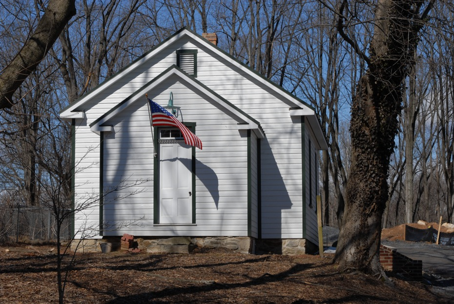 The restored Brookeville Schoolhouse, winner of the 2004 Montgomery County Award for Historic Preservation.  Miche Booz, AIA, a town resident also won as Architect for the Brookeville Schoolhouse restoration, in addition to winning Outstanding Architect for 2004.